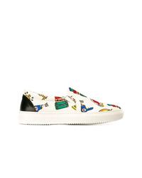 Zapatillas Slip-on de Cuero Estampadas Blancas de Au Jour Le Jour