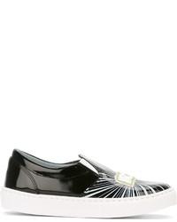 Zapatillas Slip-on de Cuero Negras de Chiara Ferragni