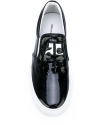 Zapatillas Slip-on de Cuero Negras de Courreges