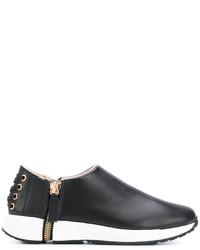 Zapatillas Slip-on de Cuero Negras de Diesel