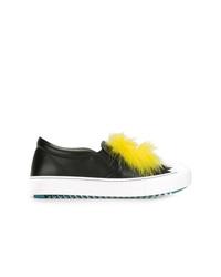 Zapatillas slip-on de cuero negras de Fendi