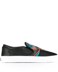 Zapatillas Slip-on de Cuero Negras de Marcelo Burlon County of Milan
