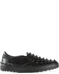 Zapatillas Slip-on de Cuero Negras de Valentino Garavani