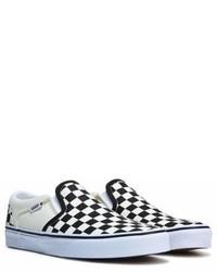 Zapatillas slip-on de lona a cuadros en negro y blanco