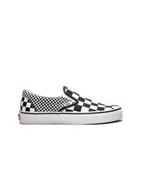 Zapatillas slip-on de lona a cuadros en negro y blanco de Vans
