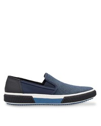 Zapatillas slip-on de lona azul marino de Prada