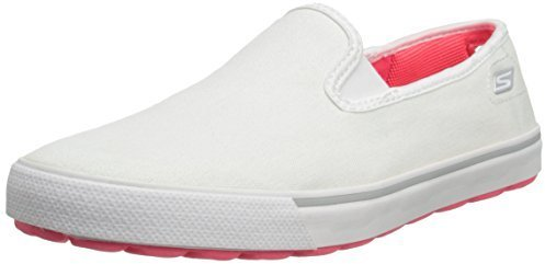 Zapatillas slip-on de lona blancas de Skechers
