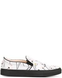 Zapatillas slip-on de lona bordadas grises de Giambattista Valli