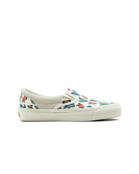 Zapatillas slip-on de lona estampadas blancas de Vans