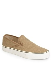 Zapatillas slip-on de lona marrón claro