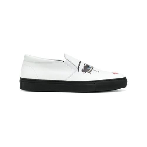 Zapatillas slip-on estampadas blancas de Moschino