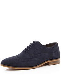 Zapatos brogue de ante azul marino