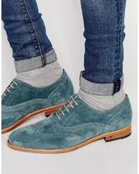 Zapatos brogue de ante en verde azulado