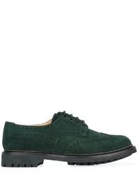 Zapatos brogue de ante verde oscuro