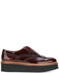 Zapatos brogue de cuero burdeos de Tod's