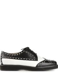Zapatos brogue de cuero en blanco y negro de MICHAEL Michael Kors