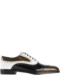 Zapatos brogue de cuero en negro y blanco de Dolce & Gabbana