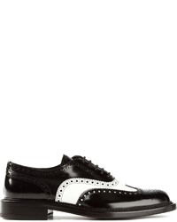 Zapatos brogue de cuero en negro y blanco de Saint Laurent