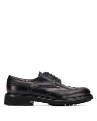 Zapatos brogue de cuero gruesos negros de Doucal's