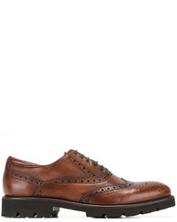Zapatos brogue de cuero marrónes de Baldinini