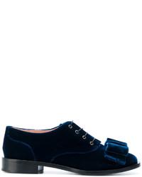 Zapatos con cordones de cuero azul marino de Rochas