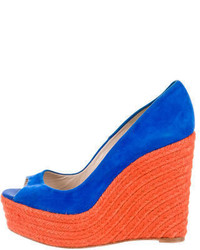 Zapatos con Cuña de Ante Azules