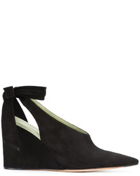 Zapatos con cuña de ante negros de Derek Lam