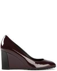 Zapatos con cuña de cuero burdeos de Tod's