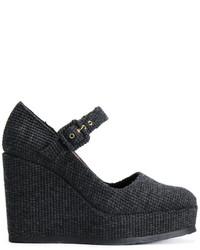 Zapatos con Cuña de Cuero en Gris Oscuro de Castaner