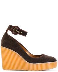 Zapatos con Cuña de Cuero en Marrón Oscuro de Castaner