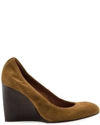 Zapatos con cuña de cuero en marrón oscuro de Lanvin