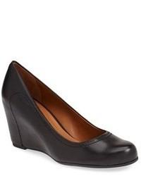 Zapatos con cuña de cuero negros