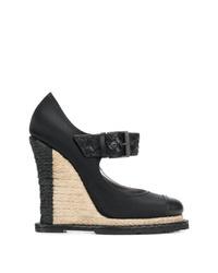 Zapatos con cuña de cuero negros de Bottega Veneta
