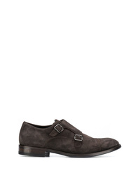 Zapatos con doble hebilla de ante en marrón oscuro de Henderson Baracco