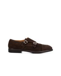 Zapatos con doble hebilla de ante en marrón oscuro de Premiata