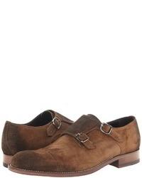 Zapatos con doble hebilla de ante marrónes
