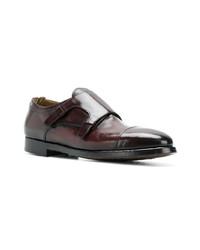 Zapatos con doble hebilla de cuero burdeos de Officine Creative