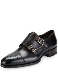 Zapatos con doble hebilla de cuero en gris oscuro