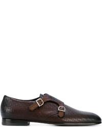 Zapatos con Doble Hebilla de Cuero en Marrón Oscuro de Baldinini