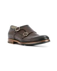 Zapatos con doble hebilla de cuero en marrón oscuro de Santoni