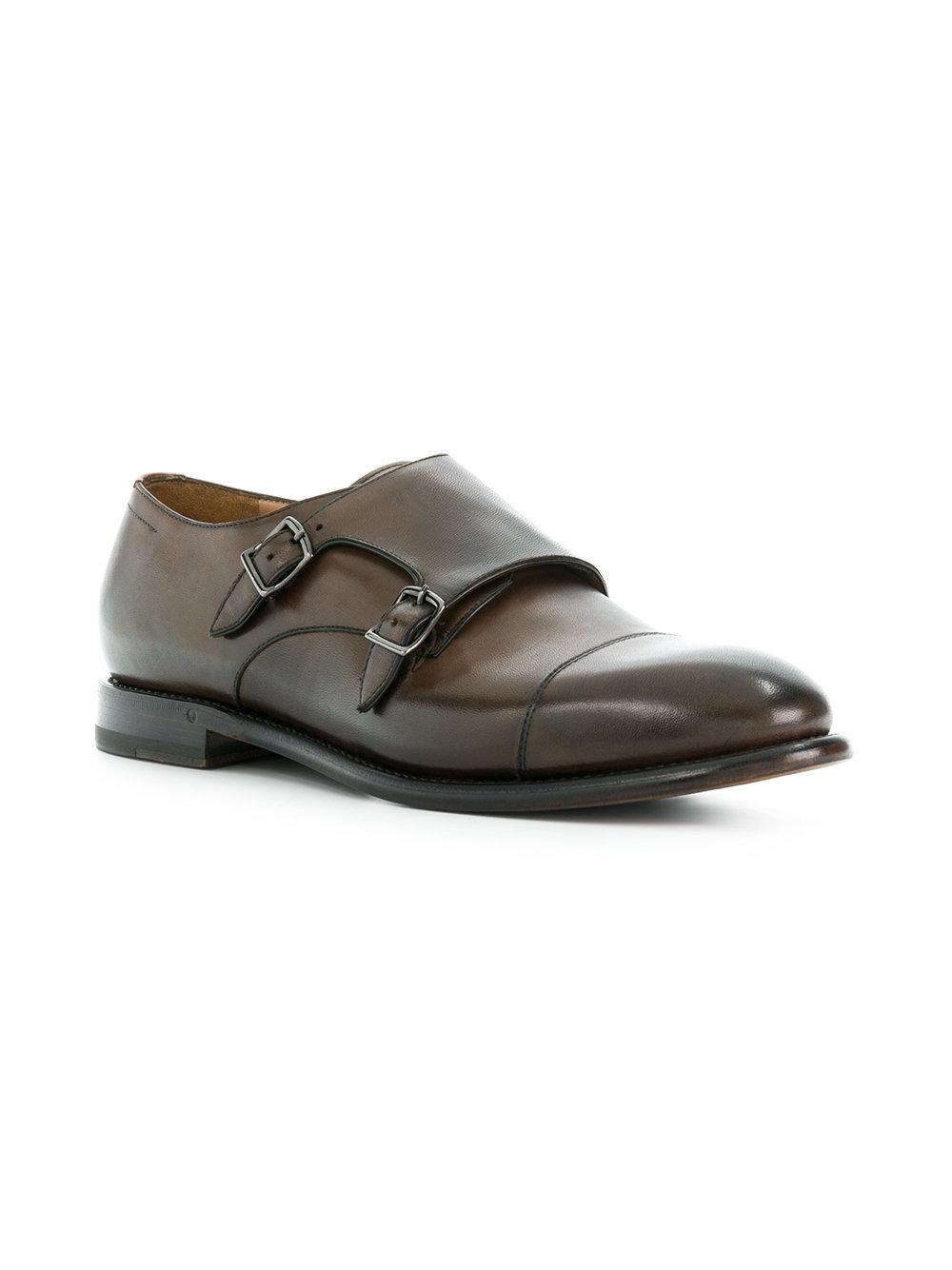 Zapatos con doble hebilla de cuero en marrón oscuro de Silvano Sassetti
