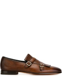 Zapatos con doble hebilla de cuero marrónes de Santoni