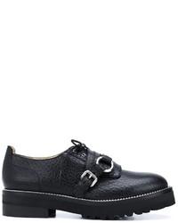 Zapatos con doble hebilla de cuero negros de Moschino