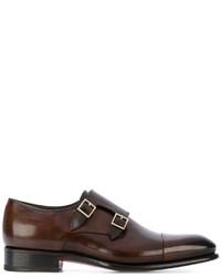 Zapatos con hebilla de cuero en marrón oscuro de Santoni