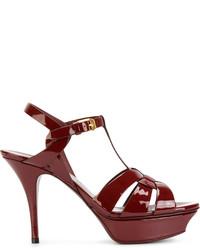 Zapatos de tacón burdeos de Saint Laurent