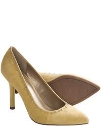 Zapatos de tacón de ante amarillos