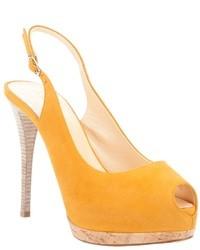 Zapatos de tacón de ante amarillos de Giuseppe Zanotti