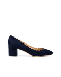 Zapatos de tacón de ante azul marino de Chloé