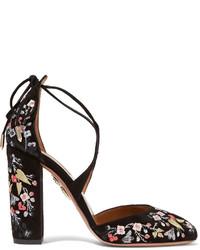 Zapatos de tacón de ante bordados negros