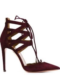 Zapatos de tacón de ante burdeos de Aquazzura